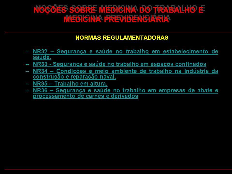 11 NOÇÕES SOBRE MEDICINA DO TRABALHO E MEDICINA PREVIDENCIÁRIA NORMAS REGULAMENTADORAS –NR32 – Segurança e saúde no trabalho em estabelecimento de saú