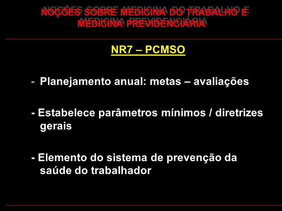 16 NOÇÕES SOBRE MEDICINA DO TRABALHO E MEDICINA PREVIDENCIÁRIA NR7 – PCMSO -Planejamento anual: metas – avaliações - Estabelece parâmetros mínimos / d
