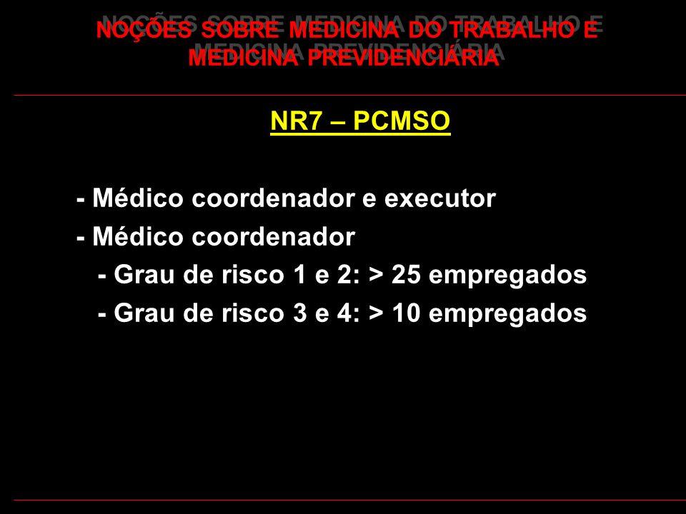 18 NOÇÕES SOBRE MEDICINA DO TRABALHO E MEDICINA PREVIDENCIÁRIA NR7 – PCMSO - Médico coordenador e executor - Médico coordenador - Grau de risco 1 e 2: