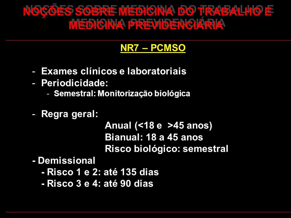 20 NOÇÕES SOBRE MEDICINA DO TRABALHO E MEDICINA PREVIDENCIÁRIA NR7 – PCMSO -Exames clínicos e laboratoriais -Periodicidade: -Semestral: Monitorização