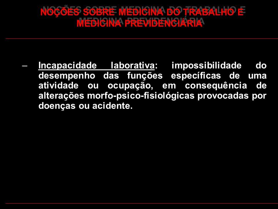 27 –Incapacidade laborativa: impossibilidade do desempenho das funções específicas de uma atividade ou ocupação, em consequência de alterações morfo-p