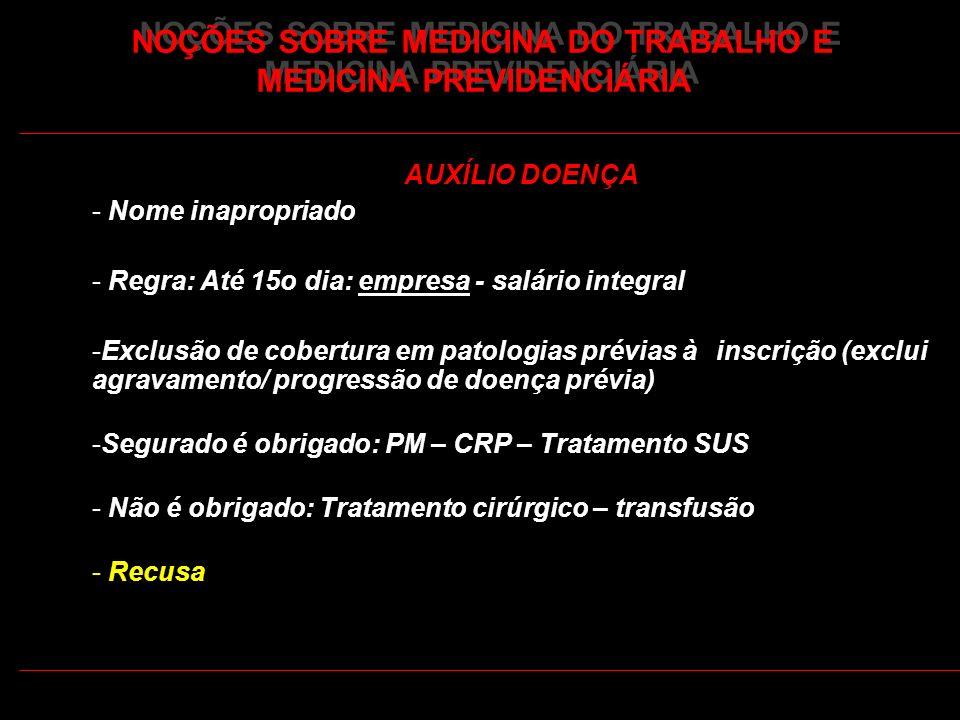 36 AUXÍLIO DOENÇA - Nome inapropriado - Regra: Até 15o dia: empresa - salário integral -Exclusão de cobertura em patologias prévias à inscrição (exclu