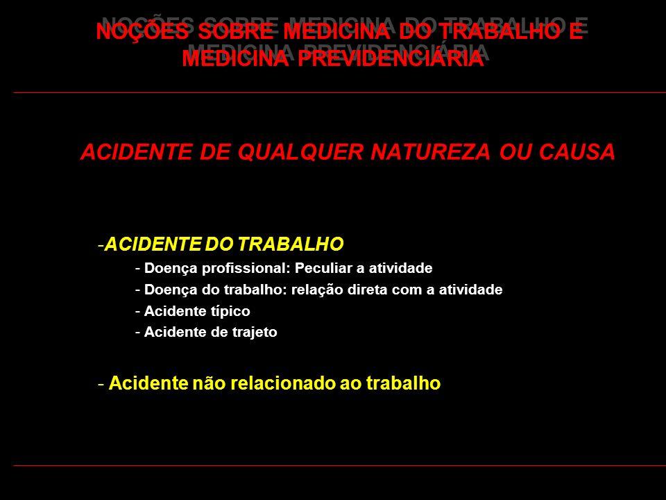 38 NOÇÕES SOBRE MEDICINA DO TRABALHO E MEDICINA PREVIDENCIÁRIA ACIDENTE DE QUALQUER NATUREZA OU CAUSA -ACIDENTE DO TRABALHO - Doença profissional: Pec
