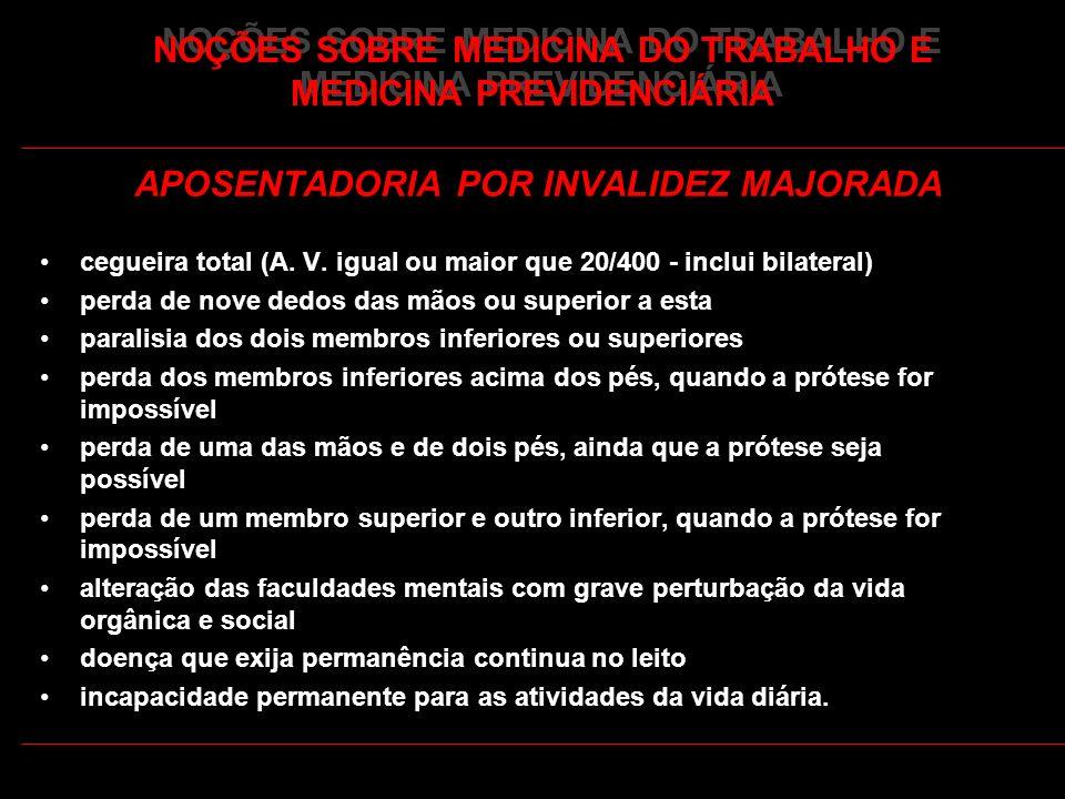 42 NOÇÕES SOBRE MEDICINA DO TRABALHO E MEDICINA PREVIDENCIÁRIA APOSENTADORIA POR INVALIDEZ MAJORADA cegueira total (A. V. igual ou maior que 20/400 -