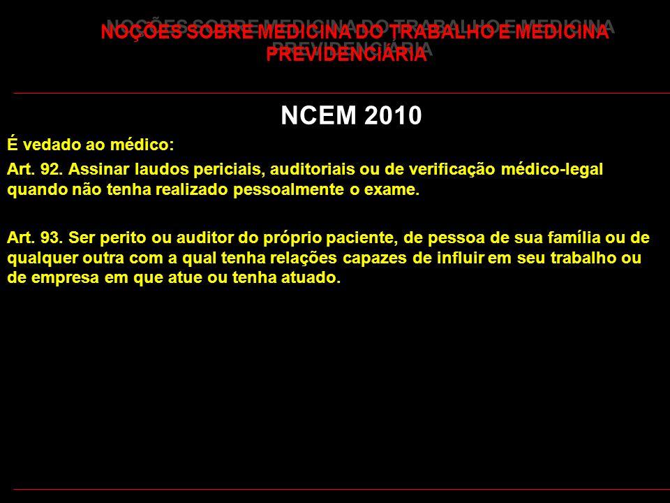44 NOÇÕES SOBRE MEDICINA DO TRABALHO E MEDICINA PREVIDENCIÁRIA NCEM 2010 É vedado ao médico: Art. 92. Assinar laudos periciais, auditoriais ou de veri