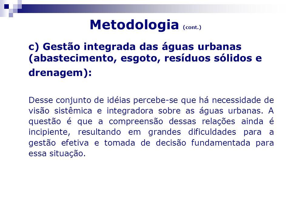 Metodologia (cont.) c) Gestão integrada das águas urbanas (abastecimento, esgoto, resíduos sólidos e drenagem): Desse conjunto de idéias percebe-se qu
