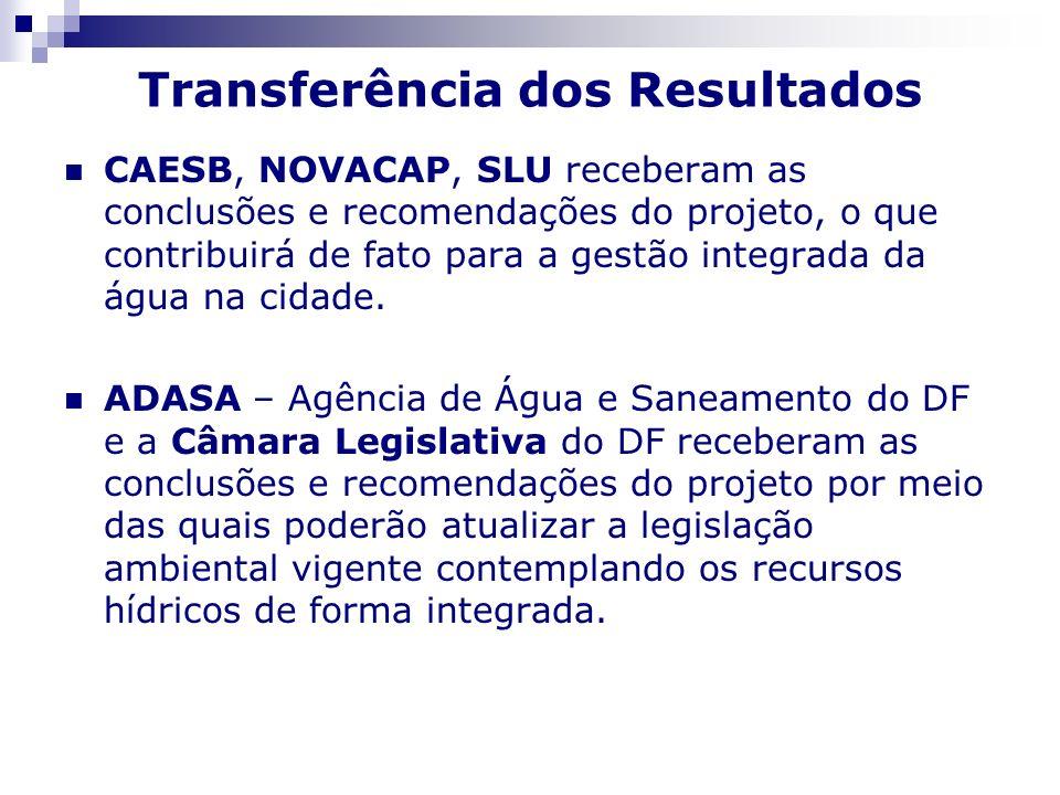 Transferência dos Resultados CAESB, NOVACAP, SLU receberam as conclusões e recomendações do projeto, o que contribuirá de fato para a gestão integrada