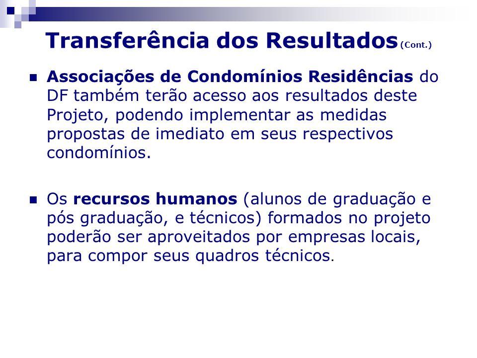 Transferência dos Resultados (Cont.) Associações de Condomínios Residências do DF também terão acesso aos resultados deste Projeto, podendo implementa