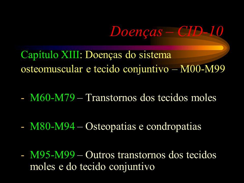 Doenças – CID-10 Capítulo XIII: Doenças do sistema osteomuscular e tecido conjuntivo – M00-M99 -M00-M25 – Artropatias -M30-M36 – Doenças do sistema co