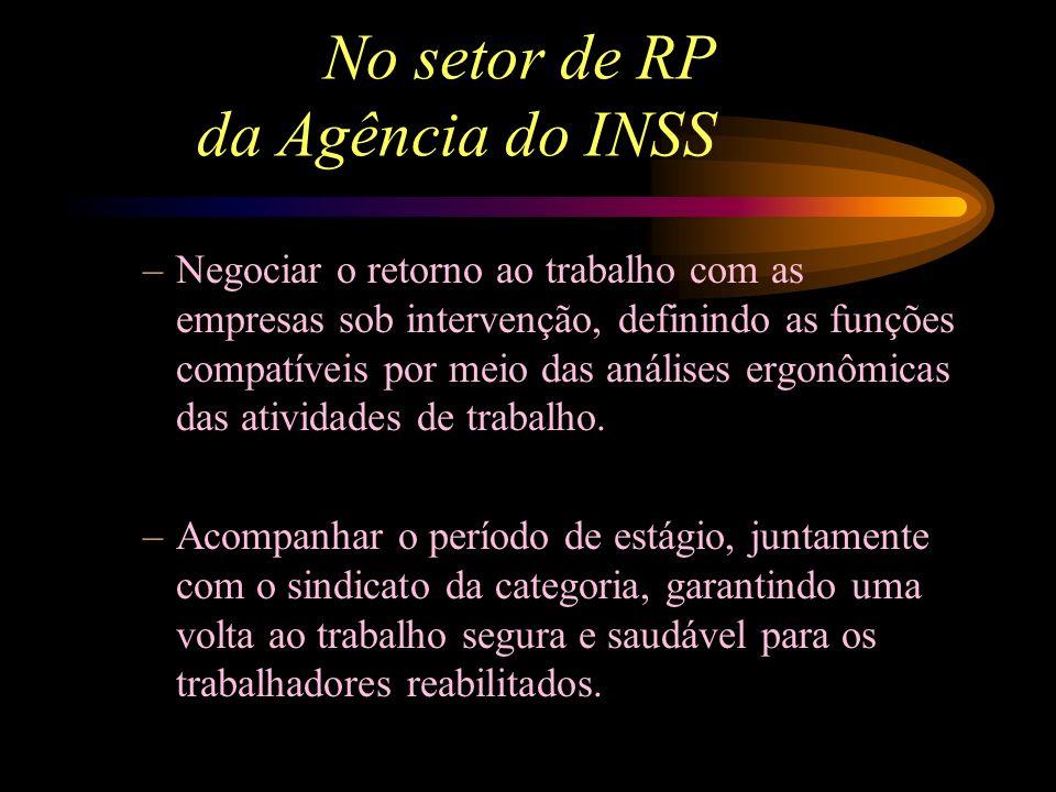 No setor de RP da Agência do INSS -Participar das avaliações ergonômicas dos postos de trabalho dos trabalhadores em programa. - Articular-se com as i
