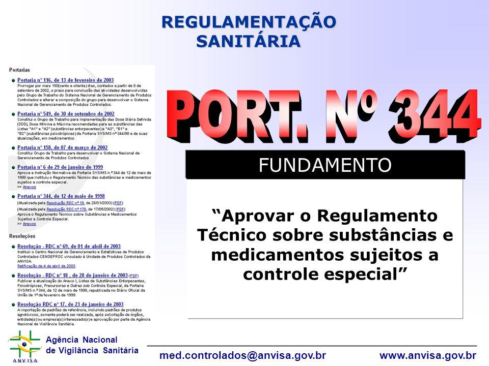 Agência Nacional de Vigilância Sanitária www.anvisa.gov.brmed.controlados@anvisa.gov.br Aprovar o Regulamento Técnico sobre substâncias e medicamentos