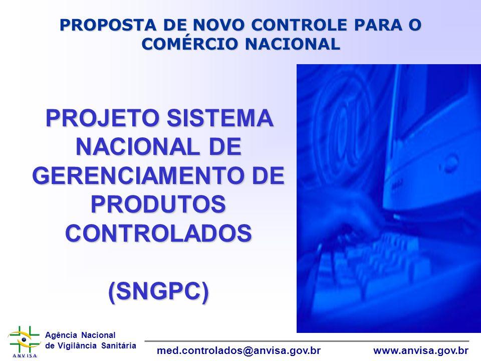 Agência Nacional de Vigilância Sanitária www.anvisa.gov.brmed.controlados@anvisa.gov.br PROJETO SISTEMA NACIONAL DE GERENCIAMENTO DE PRODUTOS CONTROLA