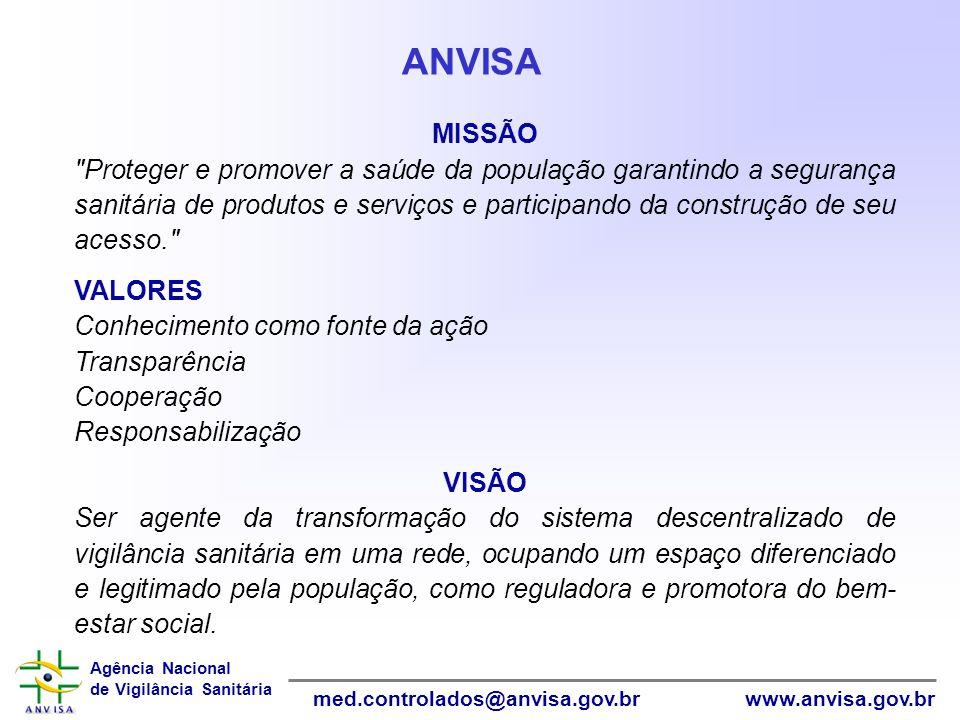 Agência Nacional de Vigilância Sanitária www.anvisa.gov.brmed.controlados@anvisa.gov.br InformáticaInformática COMPETÊNCIAS REGIMENTAIS Fonte: Portaria nº 211, de 24 de março de 2003 PUBLICAR AS LISTAS ELABORAR ESTATÍSTICAS FIXAR COTAS AUTORIZAR A IMPORTAÇÃO E EXPORTAÇÃO PROPOR REGULAMENTOS MONITORAR O COMÉRCIO E USO ANVISAANVISA