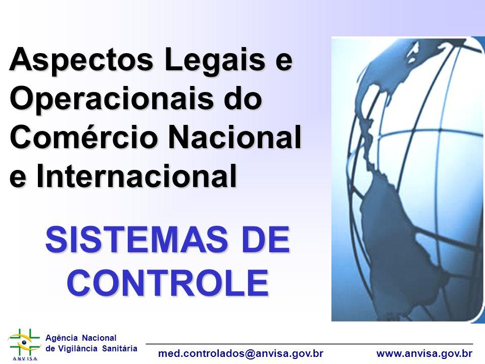 Agência Nacional de Vigilância Sanitária www.anvisa.gov.brmed.controlados@anvisa.gov.br Aspectos Legais e Operacionais do Comércio Nacional e Internac