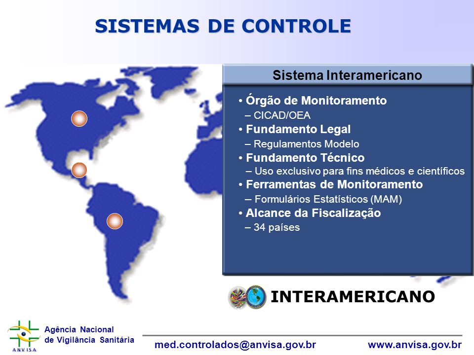 Agência Nacional de Vigilância Sanitária www.anvisa.gov.brmed.controlados@anvisa.gov.br InformáticaInformática INTERAMERICANO Sistema Interamericano Ó