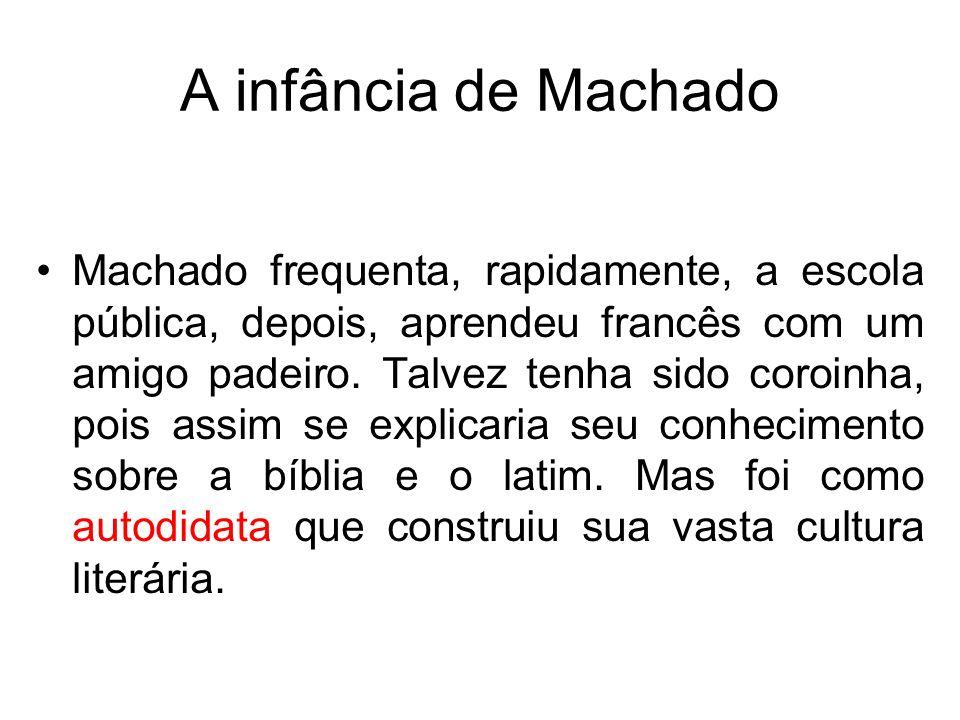 A infância de Machado Machado frequenta, rapidamente, a escola pública, depois, aprendeu francês com um amigo padeiro. Talvez tenha sido coroinha, poi