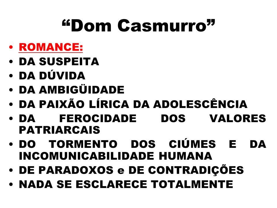 Dom Casmurro ROMANCE: DA SUSPEITA DA DÚVIDA DA AMBIGÜIDADE DA PAIXÃO LÍRICA DA ADOLESCÊNCIA DA FEROCIDADE DOS VALORES PATRIARCAIS DO TORMENTO DOS CIÚM