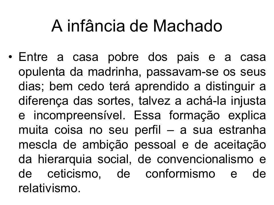 A infância de Machado Já na infância, revelou frágil saúde: atitudes nervosas, epilepsia e gaguez, que surgiram em intervalos ao longo de sua existência e que lhe conferiram um temperamento tímido e reservado.