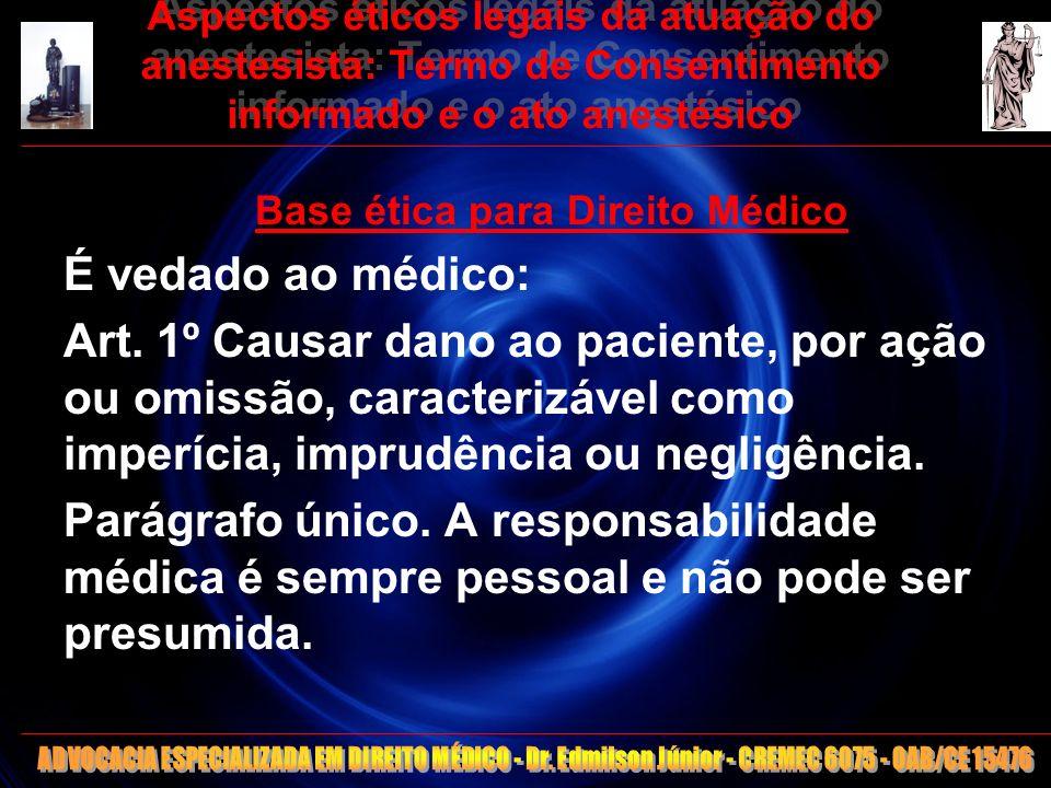 10 Aspectos éticos legais da atuação do anestesista: Termo de Consentimento informado e o ato anestésico Base ética para Direito Médico É vedado ao mé