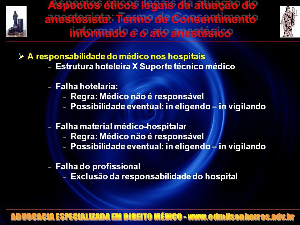 Aspectos éticos legais da atuação do anestesista: Termo de Consentimento informado e o ato anestésico A responsabilidade do médico nos hospitais -Estr