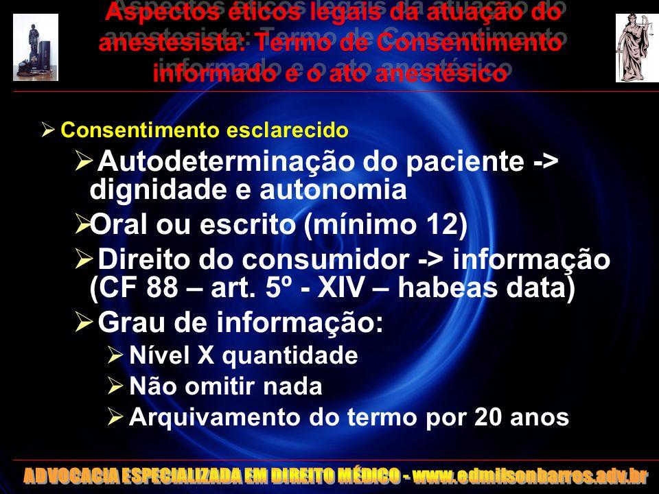 Aspectos éticos legais da atuação do anestesista: Termo de Consentimento informado e o ato anestésico Consentimento esclarecido Autodeterminação do pa