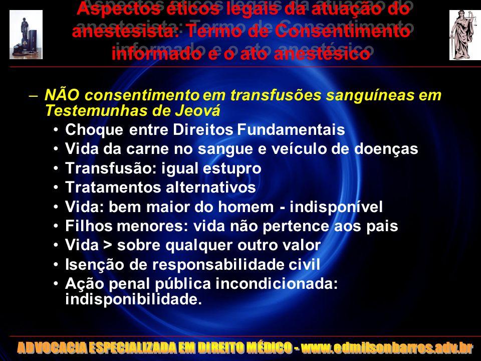 Aspectos éticos legais da atuação do anestesista: Termo de Consentimento informado e o ato anestésico –NÃO consentimento em transfusões sanguíneas em
