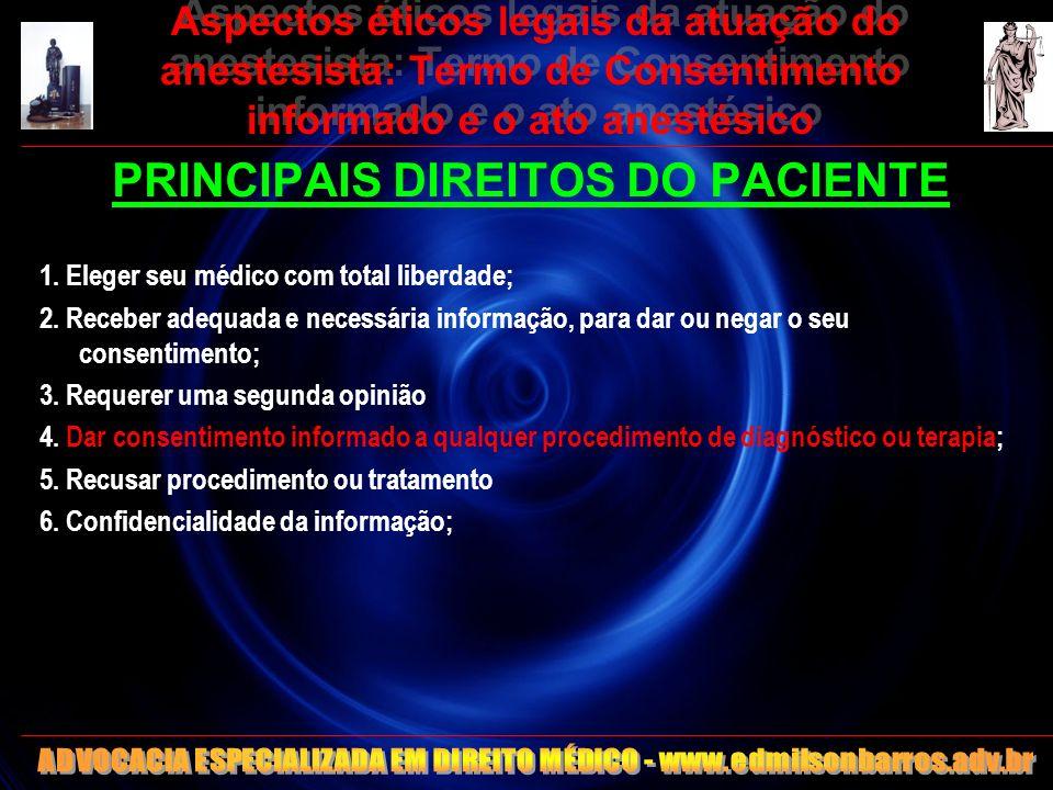 Aspectos éticos legais da atuação do anestesista: Termo de Consentimento informado e o ato anestésico PRINCIPAIS DIREITOS DO PACIENTE 1. Eleger seu mé