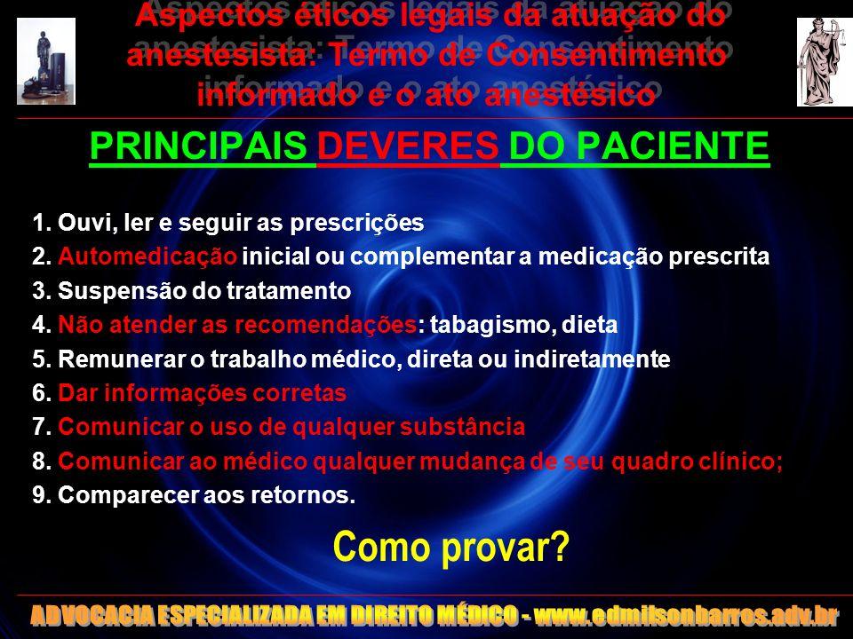 Aspectos éticos legais da atuação do anestesista: Termo de Consentimento informado e o ato anestésico PRINCIPAIS DEVERES DO PACIENTE 1. Ouvi, ler e se
