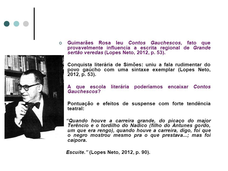 Guimarães Rosa leu Contos Gauchescos, fato que provavelmente influencia a escrita regional de Grande sertão veredas (Lopes Neto, 2012, p. 53). Conquis