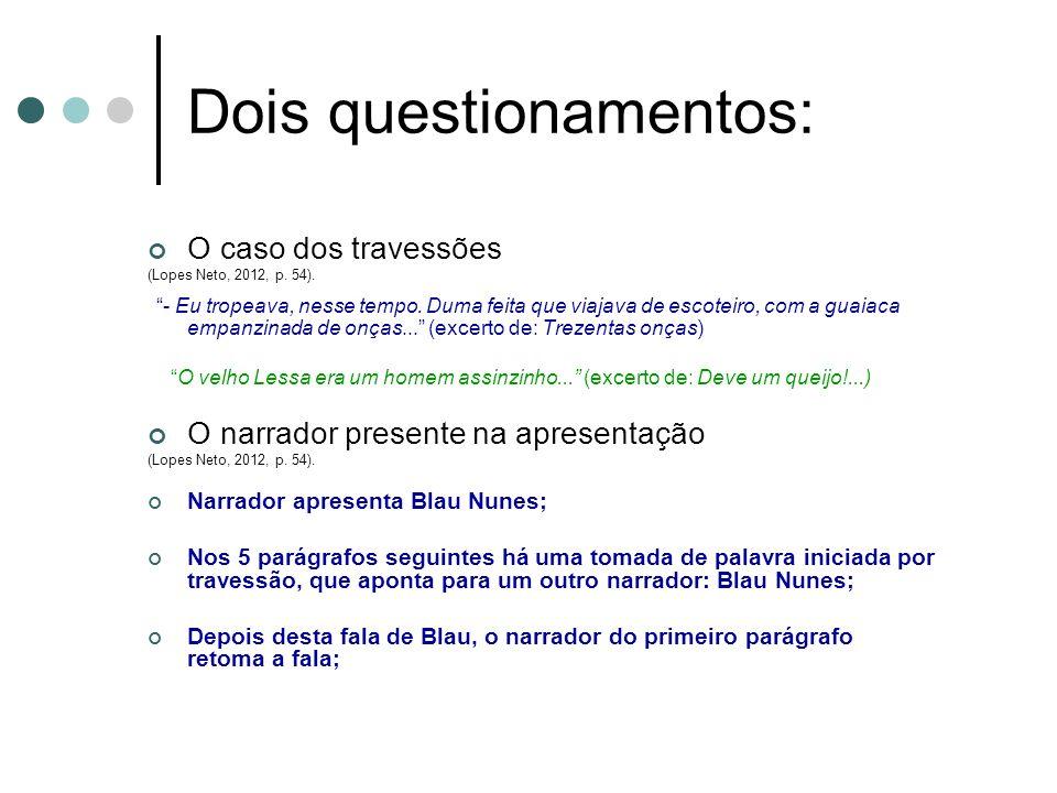 Dois questionamentos: O caso dos travessões (Lopes Neto, 2012, p. 54). - Eu tropeava, nesse tempo. Duma feita que viajava de escoteiro, com a guaiaca