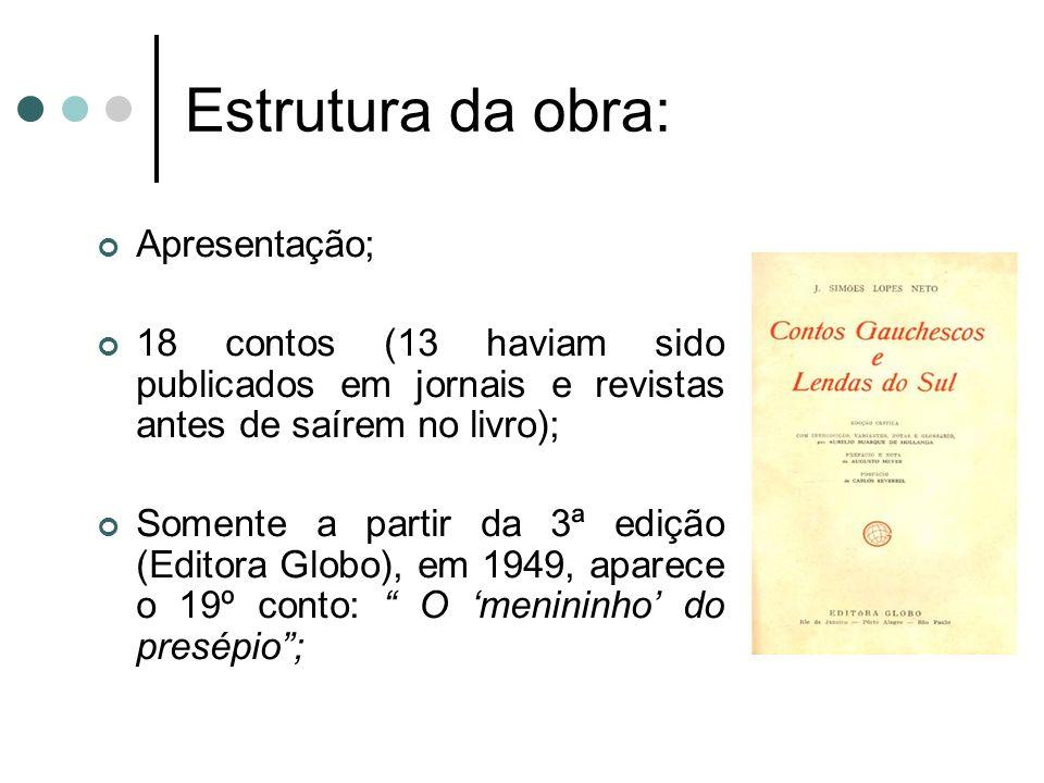 Estrutura da obra: Apresentação; 18 contos (13 haviam sido publicados em jornais e revistas antes de saírem no livro); Somente a partir da 3ª edição (