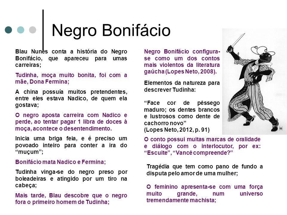 Negro Bonifácio Blau Nunes conta a história do Negro Bonifácio, que apareceu para umas carreiras; Tudinha, moça muito bonita, foi com a mãe, Dona Ferm