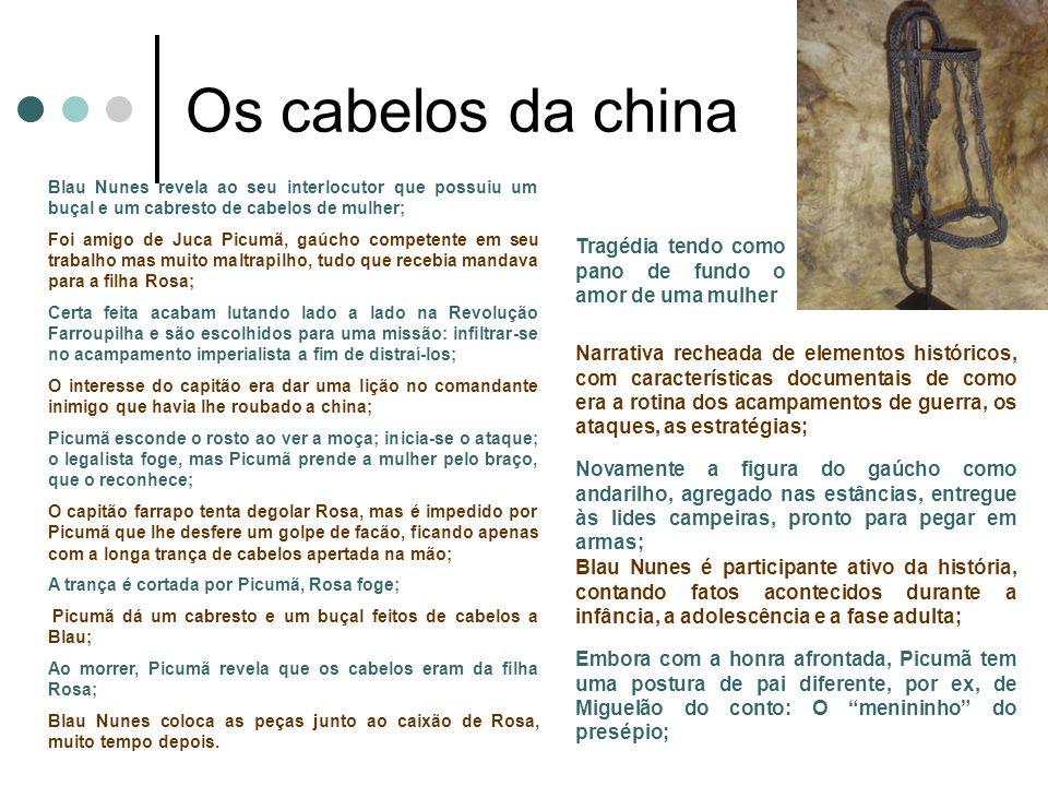 Os cabelos da china Blau Nunes revela ao seu interlocutor que possuiu um buçal e um cabresto de cabelos de mulher; Foi amigo de Juca Picumã, gaúcho co