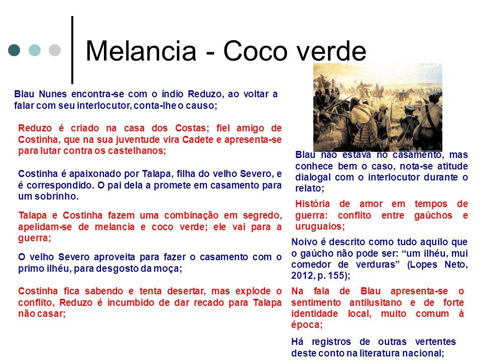 Melancia - Coco verde Blau Nunes encontra-se com o índio Reduzo, ao voltar a falar com seu interlocutor, conta-lhe o causo; Reduzo é criado na casa do