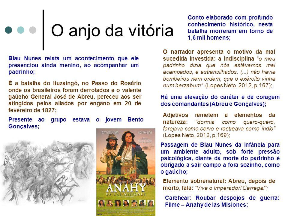O anjo da vitória Blau Nunes relata um acontecimento que ele presenciou ainda menino, ao acompanhar um padrinho; É a batalha do Ituzaingó, no Passo do