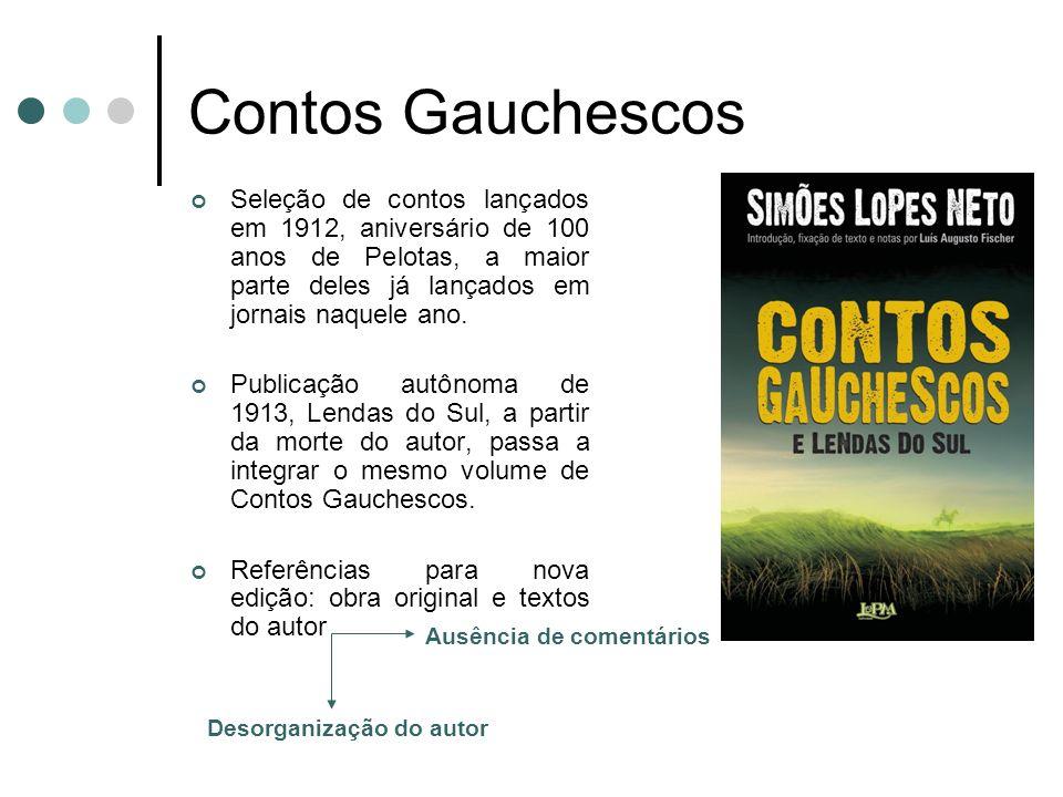 Contos Gauchescos Seleção de contos lançados em 1912, aniversário de 100 anos de Pelotas, a maior parte deles já lançados em jornais naquele ano. Publ