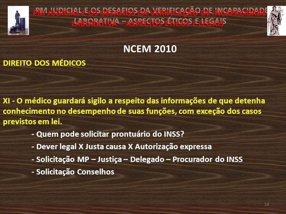 15 PM JUDICIAL E OS DESAFIOS DA VERIFICAÇÃO DE INCAPACIDADE LABORATIVA – ASPECTOS ÉTICOS E LEGAIS NCEM 2010 É vedado ao médico: Art.