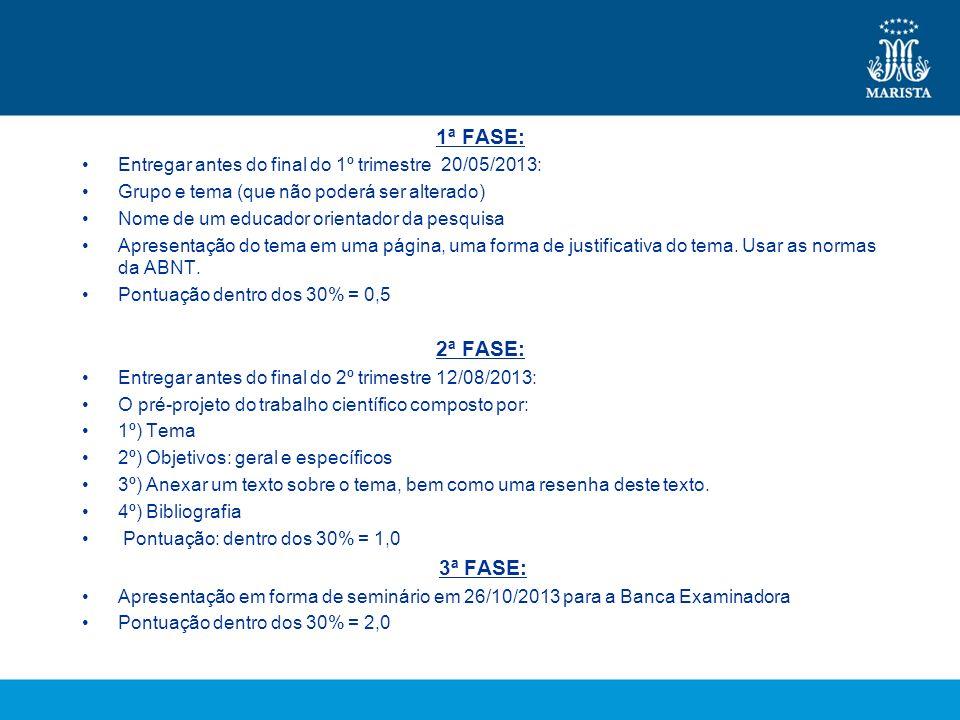 1ª FASE: Entregar antes do final do 1º trimestre 20/05/2013: Grupo e tema (que não poderá ser alterado) Nome de um educador orientador da pesquisa Apr