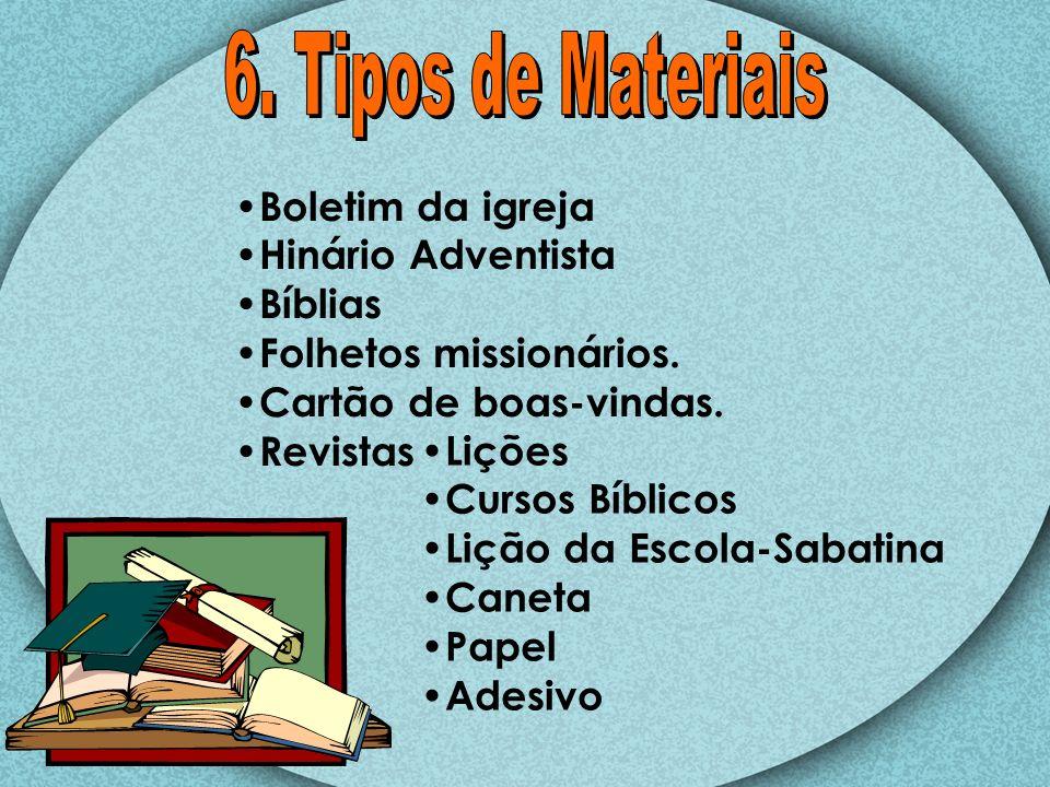 Boletim da igreja Hinário Adventista Bíblias Folhetos missionários. Cartão de boas-vindas. Revistas Lições Cursos Bíblicos Lição da Escola-Sabatina Ca