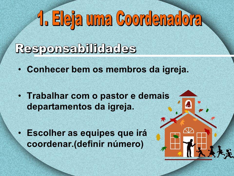 Conhecer bem os membros da igreja. Trabalhar com o pastor e demais departamentos da igreja. Escolher as equipes que irá coordenar.(definir número)