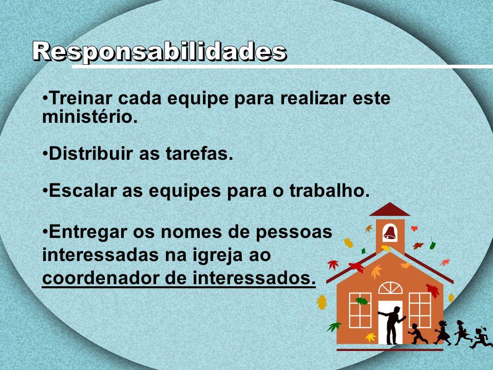 É necessário que a igreja tenha essa coordenadora, para ajudar e integrar a recepção na vida da igreja em todas as suas programações regulares e calendário de datas especiais.