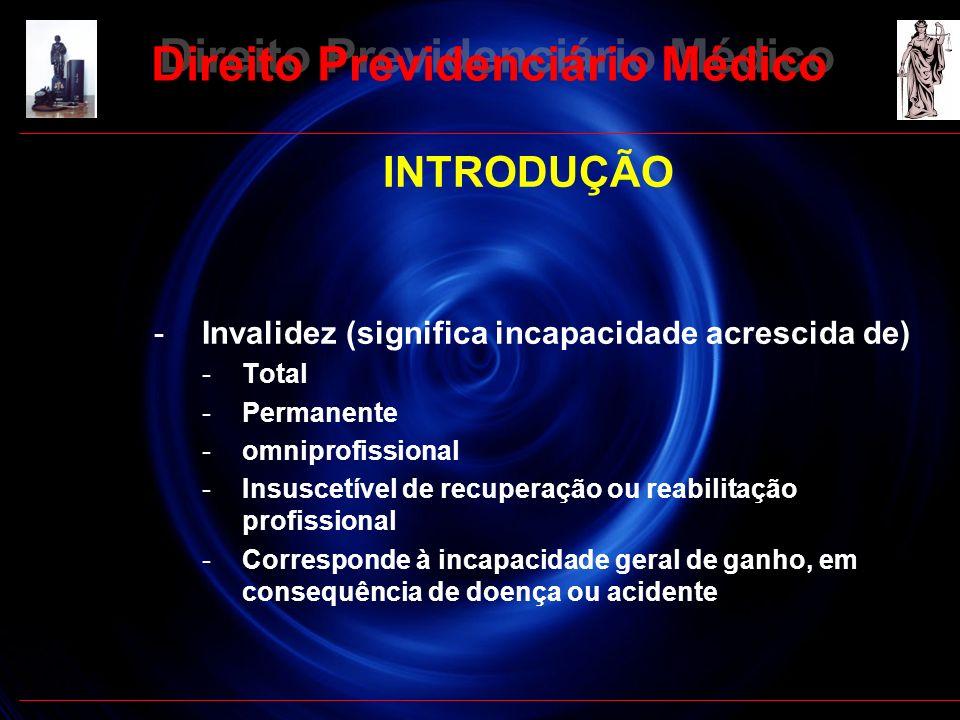 12 INTRODUÇÃO -Invalidez (significa incapacidade acrescida de) -Total -Permanente -omniprofissional -Insuscetível de recuperação ou reabilitação profi