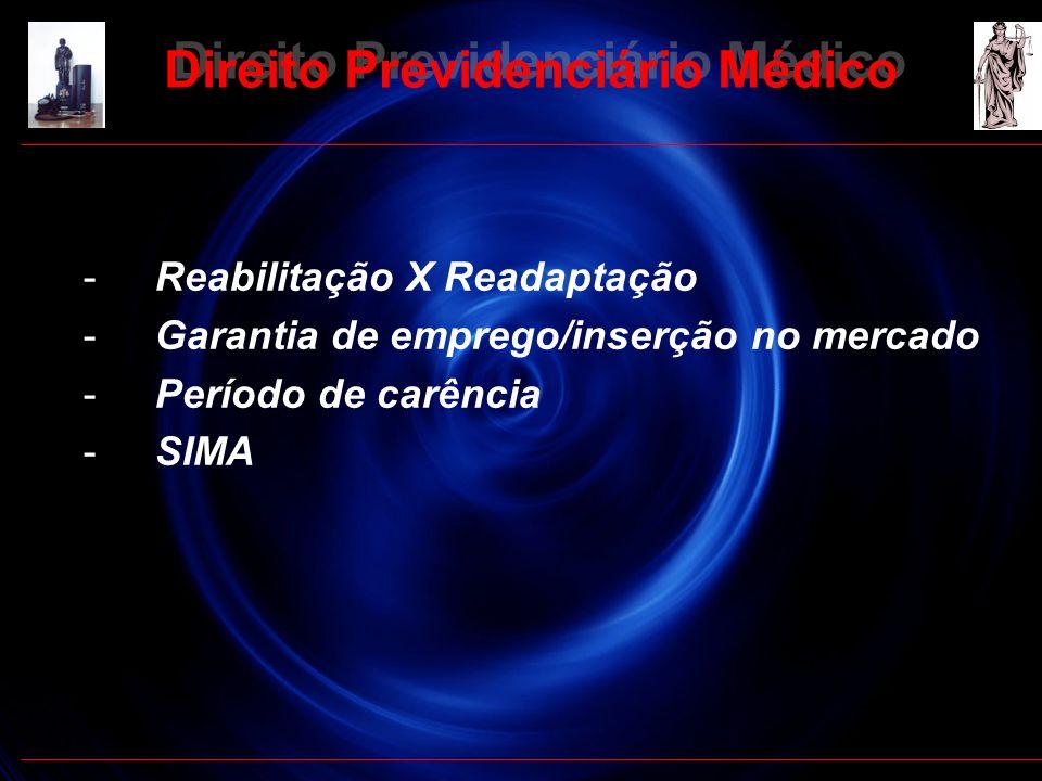14 - Reabilitação X Readaptação - Garantia de emprego/inserção no mercado - Período de carência - SIMA Direito Previdenciário Médico