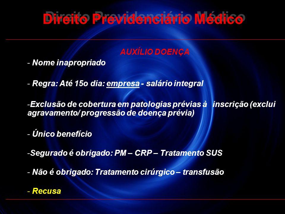 21 AUXÍLIO DOENÇA - Nome inapropriado - Regra: Até 15o dia: empresa - salário integral -Exclusão de cobertura em patologias prévias à inscrição (exclu