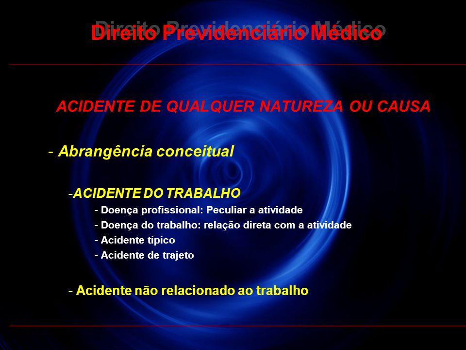24 Direito Previdenciário Médico ACIDENTE DE QUALQUER NATUREZA OU CAUSA - Abrangência conceitual -ACIDENTE DO TRABALHO - Doença profissional: Peculiar