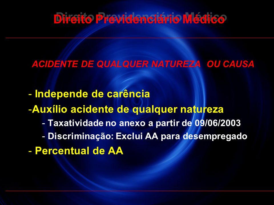 25 Direito Previdenciário Médico ACIDENTE DE QUALQUER NATUREZA OU CAUSA - Independe de carência -Auxílio acidente de qualquer natureza - Taxatividade