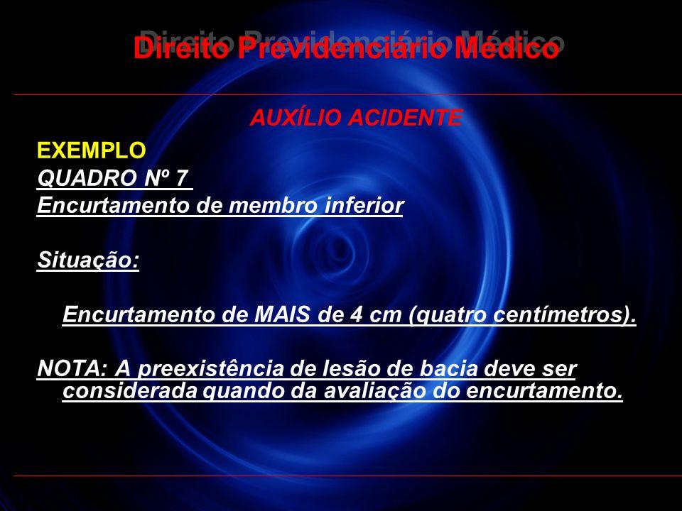 27 Direito Previdenciário Médico AUXÍLIO ACIDENTE EXEMPLO QUADRO Nº 7 Encurtamento de membro inferior Situação: Encurtamento de MAIS de 4 cm (quatro c