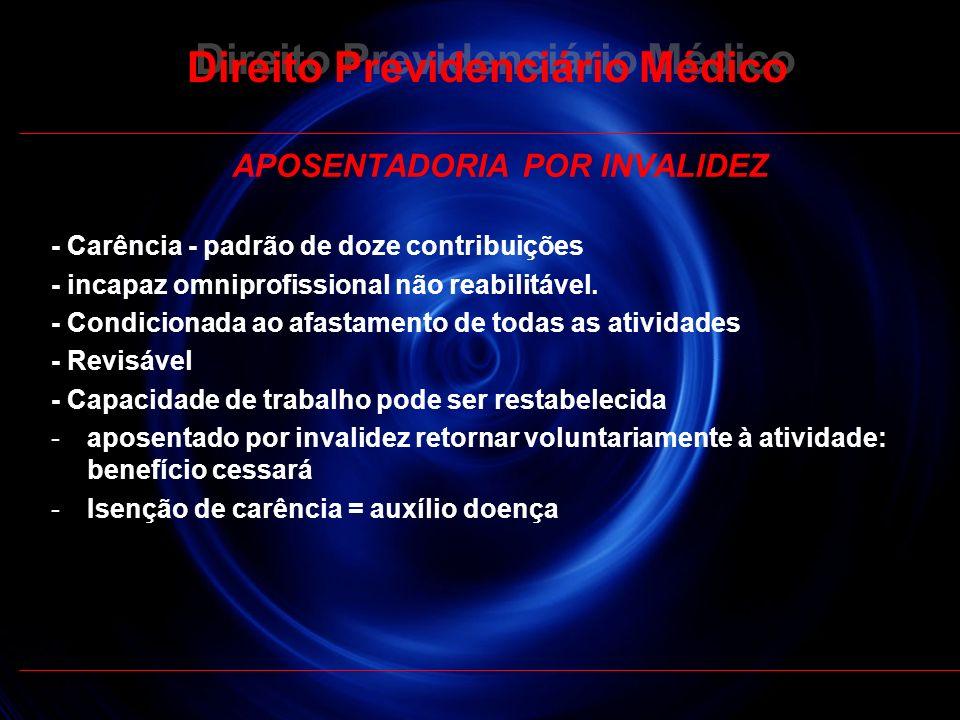 29 Direito Previdenciário Médico APOSENTADORIA POR INVALIDEZ - Carência - padrão de doze contribuições - incapaz omniprofissional não reabilitável. -