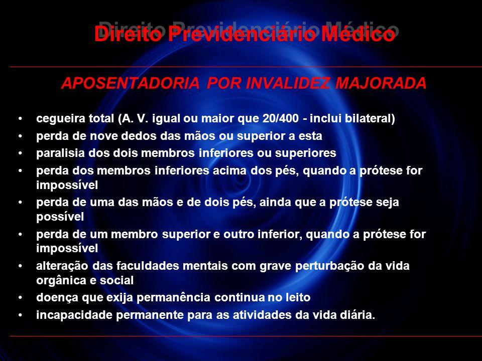 30 Direito Previdenciário Médico APOSENTADORIA POR INVALIDEZ MAJORADA cegueira total (A. V. igual ou maior que 20/400 - inclui bilateral) perda de nov