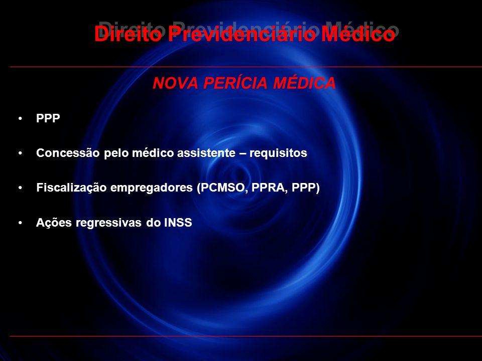 31 Direito Previdenciário Médico NOVA PERÍCIA MÉDICA PPP Concessão pelo médico assistente – requisitos Fiscalização empregadores (PCMSO, PPRA, PPP) Aç